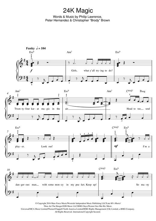 Bruno Mars '24K Magic' Sheet Music Notes, Chords | Download Printable Easy  Piano - SKU: 125430