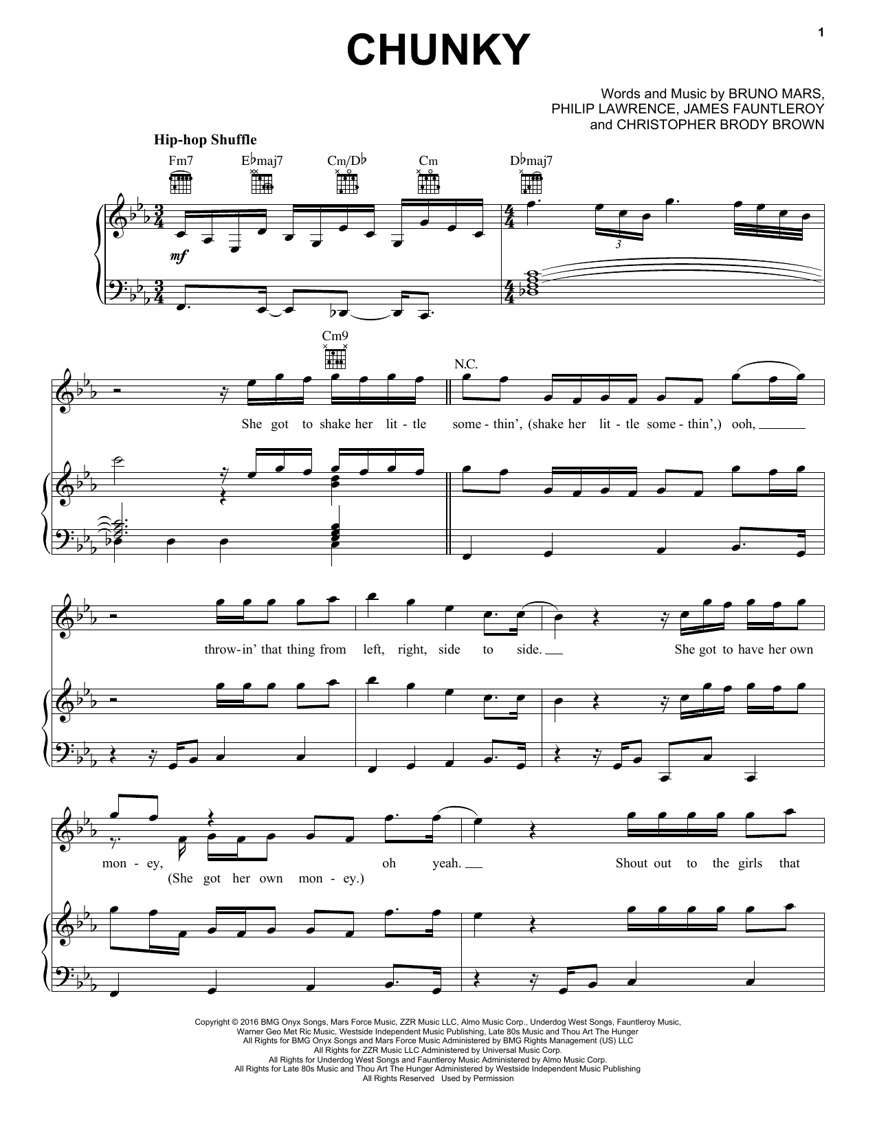 Bruno Mars Chunky sheet music notes and chords