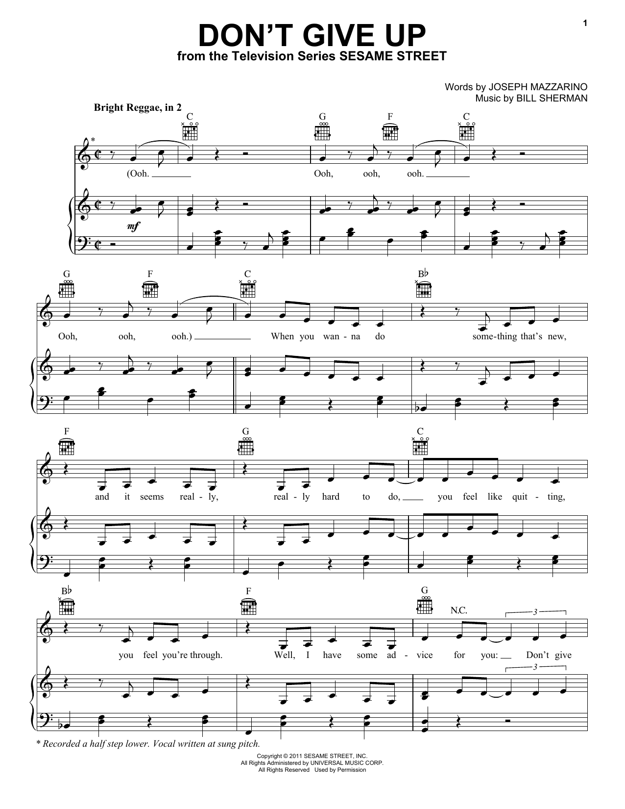 Bruno Mars Don't Give Up (from Sesame Street) sheet music notes and chords. Download Printable PDF.