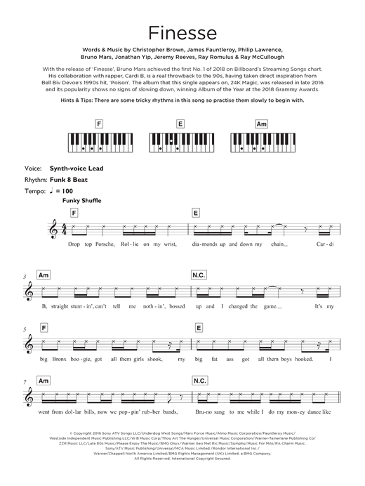 Bruno Mars Finesse (feat. Cardi B) sheet music notes and chords