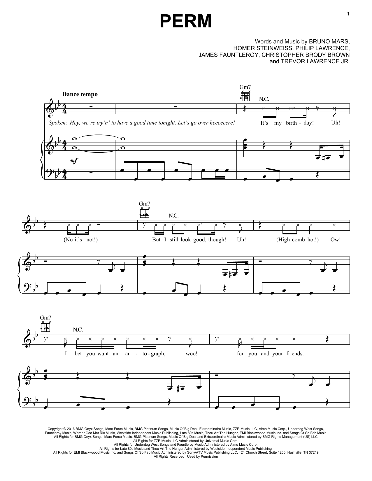 Bruno Mars Perm sheet music notes and chords