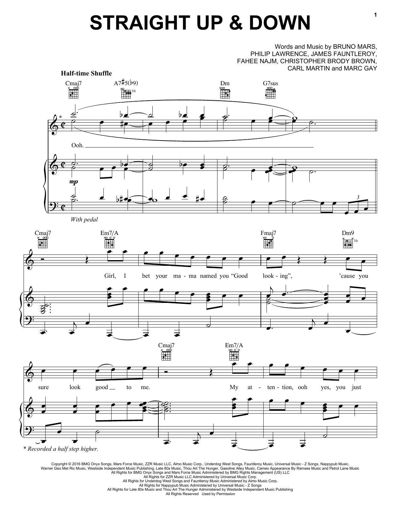 Bruno Mars Straight Up & Down sheet music notes and chords
