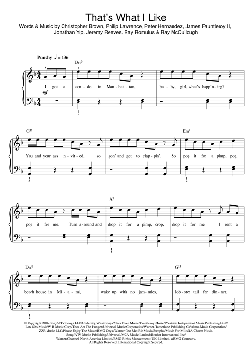 Bruno Mars That's What I Like sheet music notes and chords. Download Printable PDF.