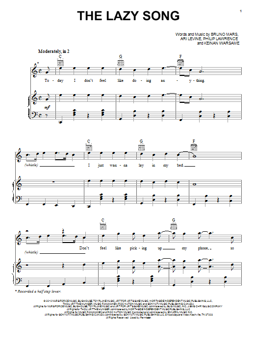 Bruno Mars The Lazy Song sheet music notes and chords. Download Printable PDF.