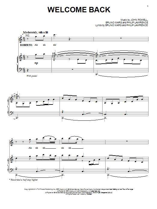 Bruno Mars Welcome Back sheet music notes and chords. Download Printable PDF.