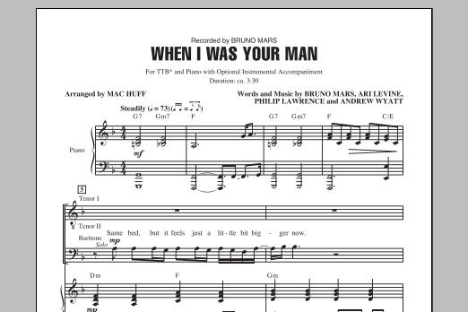Bruno Mars When I Was Your Man Arr Mac Huff Sheet Music Pdf Notes Chords Pop Score Satb Choir Download Printable Sku 99383