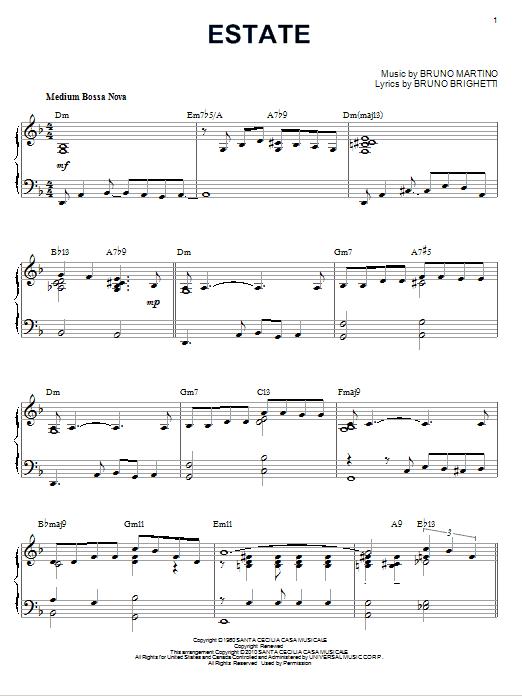 Bruno Martino Estate [Jazz version] (arr. Brent Edstrom) sheet music notes and chords. Download Printable PDF.