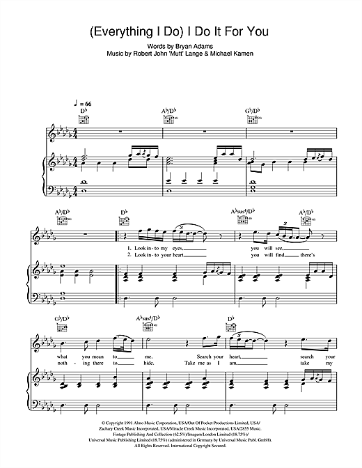 Bryan Adams (Everything I Do) I Do It For You sheet music notes and chords. Download Printable PDF.