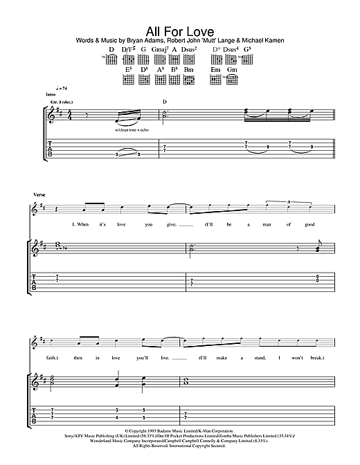 Bryan Adams All For Love sheet music notes and chords