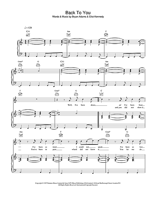 Bryan Adams Back To You sheet music notes and chords