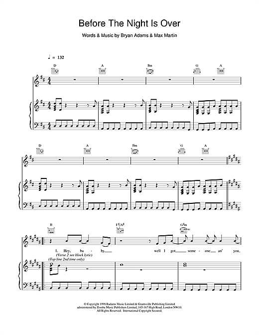 Bryan Adams Before The Night Is Over sheet music notes and chords