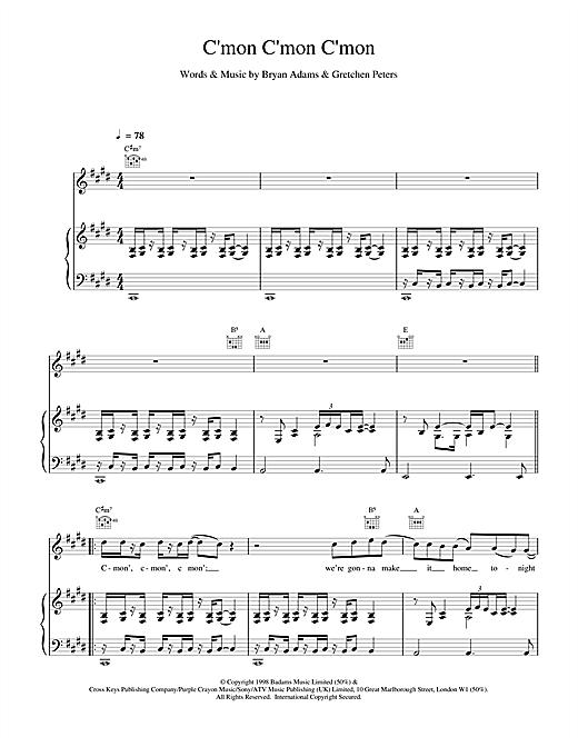Bryan Adams C'mon C'mon C'mon sheet music notes and chords