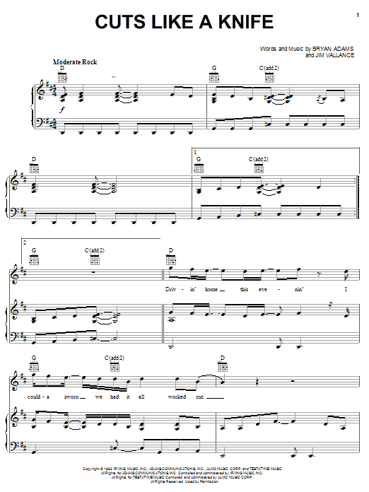 Bryan Adams Cuts Like A Knife sheet music notes and chords