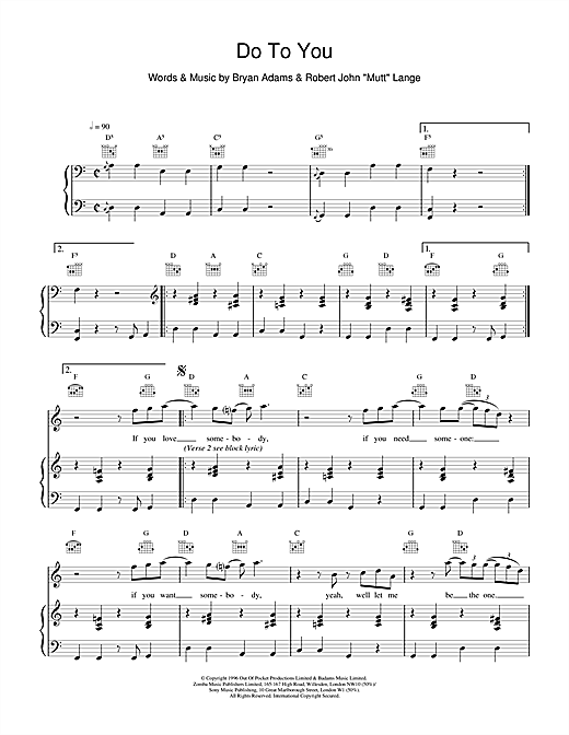 Bryan Adams Do To You sheet music notes and chords