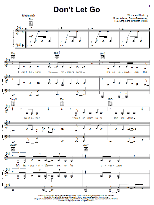 Bryan Adams Don't Let Go sheet music notes and chords. Download Printable PDF.