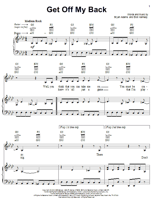 Bryan Adams Get Off My Back sheet music notes and chords. Download Printable PDF.