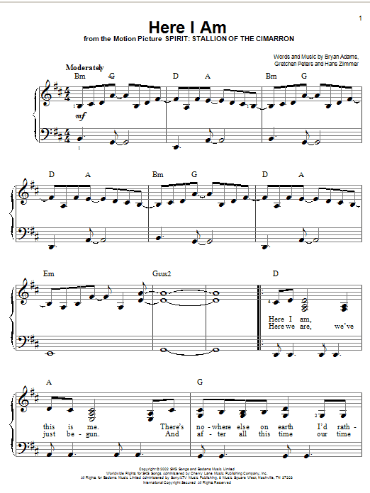 Bryan Adams Here I Am sheet music notes and chords