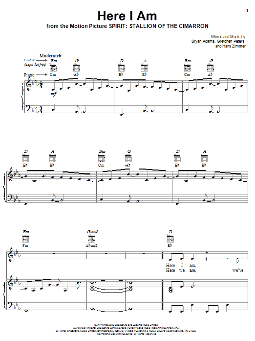 Bryan Adams Here I Am (End Title) sheet music notes and chords