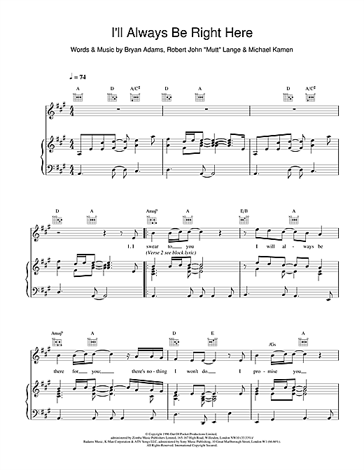 Bryan Adams I'll Always Be Right Here sheet music notes and chords. Download Printable PDF.