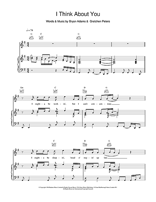 Bryan Adams I Think About You sheet music notes and chords