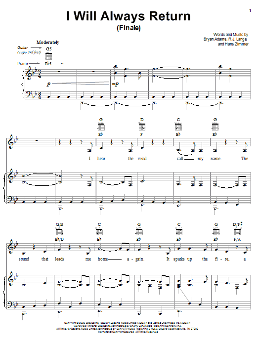Bryan Adams I Will Always Return (Finale) sheet music notes and chords