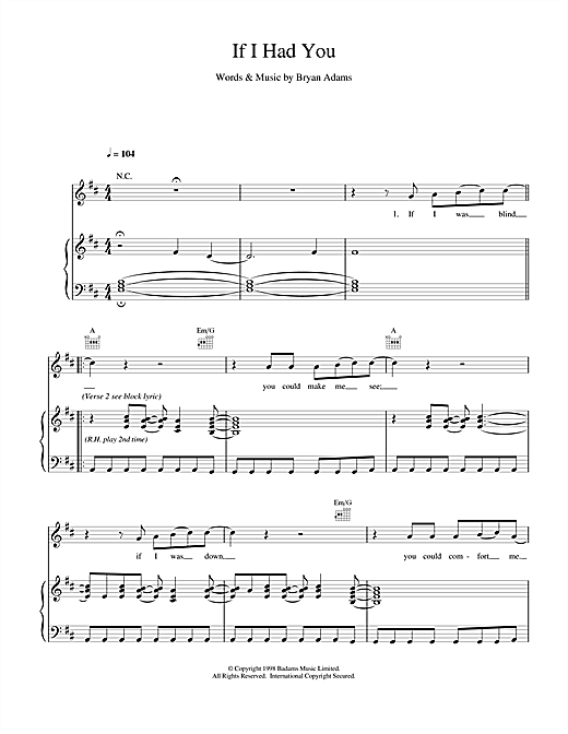 Bryan Adams If I Had You sheet music notes and chords. Download Printable PDF.