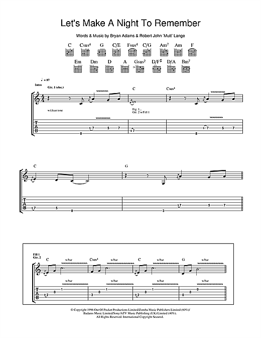 Bryan Adams Let's Make A Night To Remember sheet music notes and chords. Download Printable PDF.