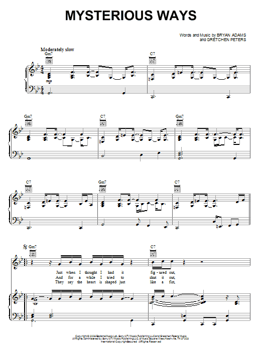Bryan Adams Mysterious Ways sheet music notes and chords. Download Printable PDF.