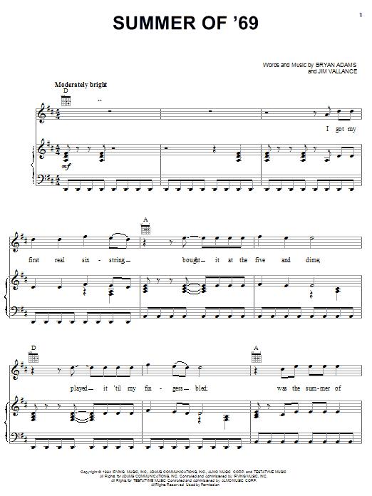 Bryan Adams Summer Of '69 sheet music notes and chords