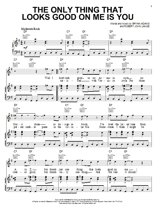 Bryan Adams The Only Thing That Looks Good On Me Is You sheet music notes and chords. Download Printable PDF.