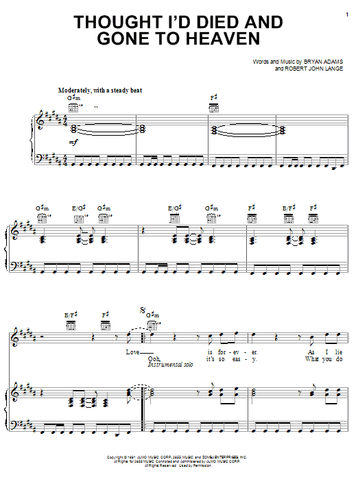 Bryan Adams Thought I'd Died And Gone To Heaven sheet music notes and chords
