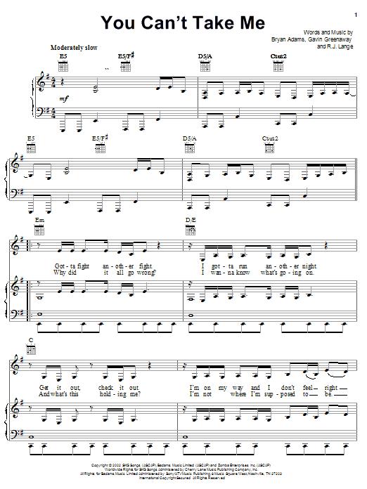 Bryan Adams You Can't Take Me sheet music notes and chords. Download Printable PDF.