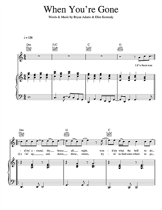 Bryan Adams and Melanie C When You're Gone sheet music notes and chords
