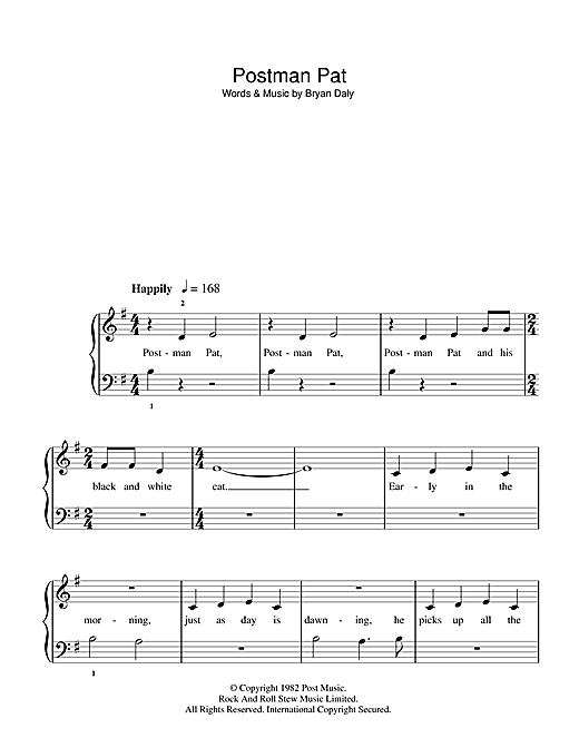 Bryan Daly Postman Pat sheet music notes and chords. Download Printable PDF.