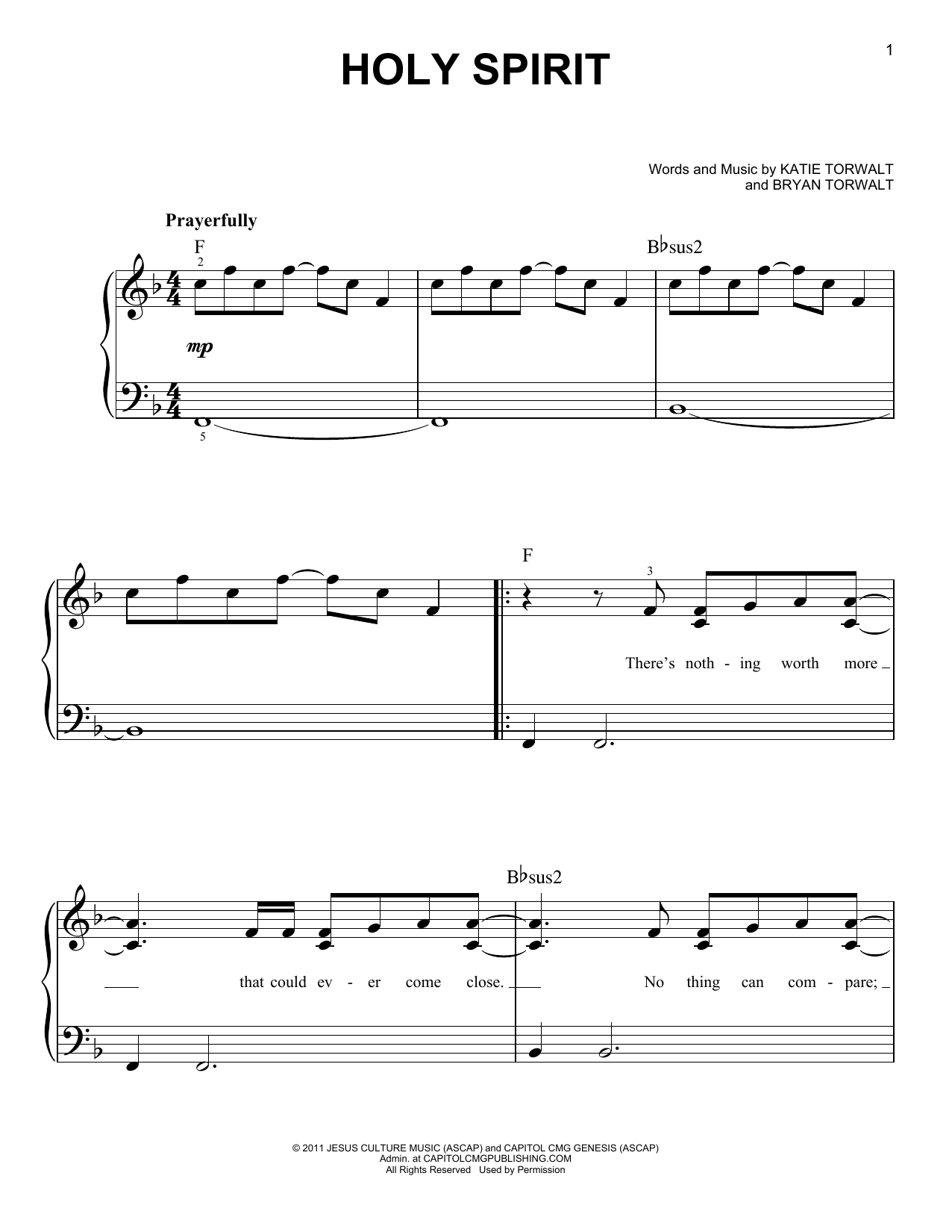 Bryan Torwalt Holy Spirit sheet music notes and chords. Download Printable PDF.