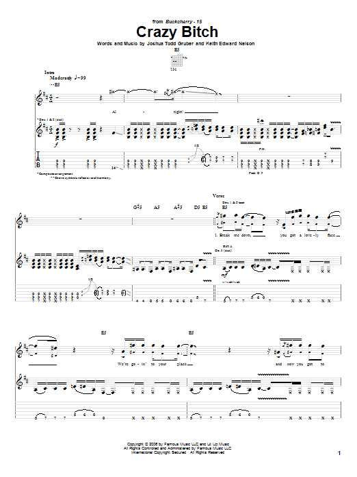 Buckcherry Crazy Bitch sheet music notes and chords. Download Printable PDF.