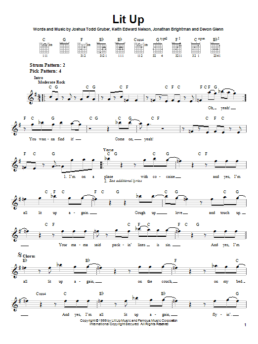 Buckcherry Lit Up sheet music notes and chords