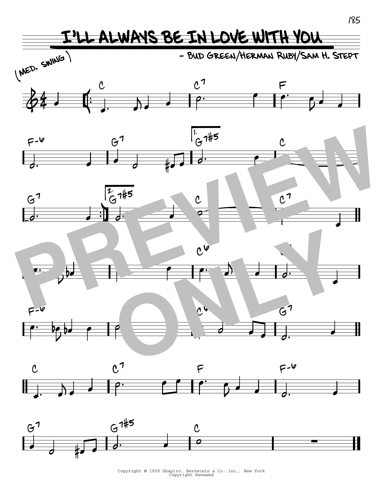 Bud Green I'll Always Be In Love With You sheet music notes and chords. Download Printable PDF.
