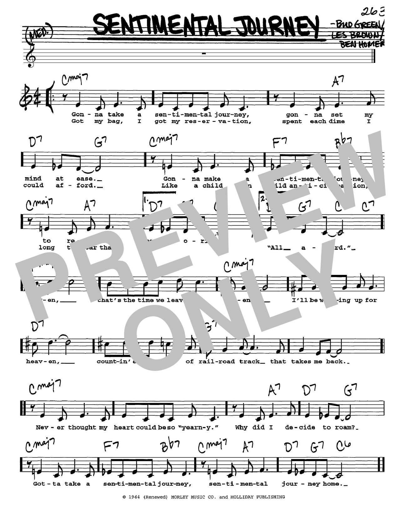 Bud Green Sentimental Journey sheet music notes and chords. Download Printable PDF.