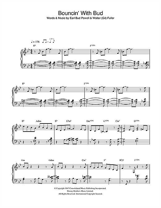 Bud Powell Bouncing With Bud sheet music notes and chords. Download Printable PDF.