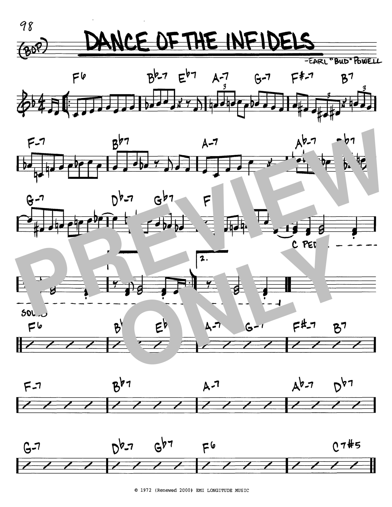 Bud Powell Dance Of The Infidels sheet music notes and chords