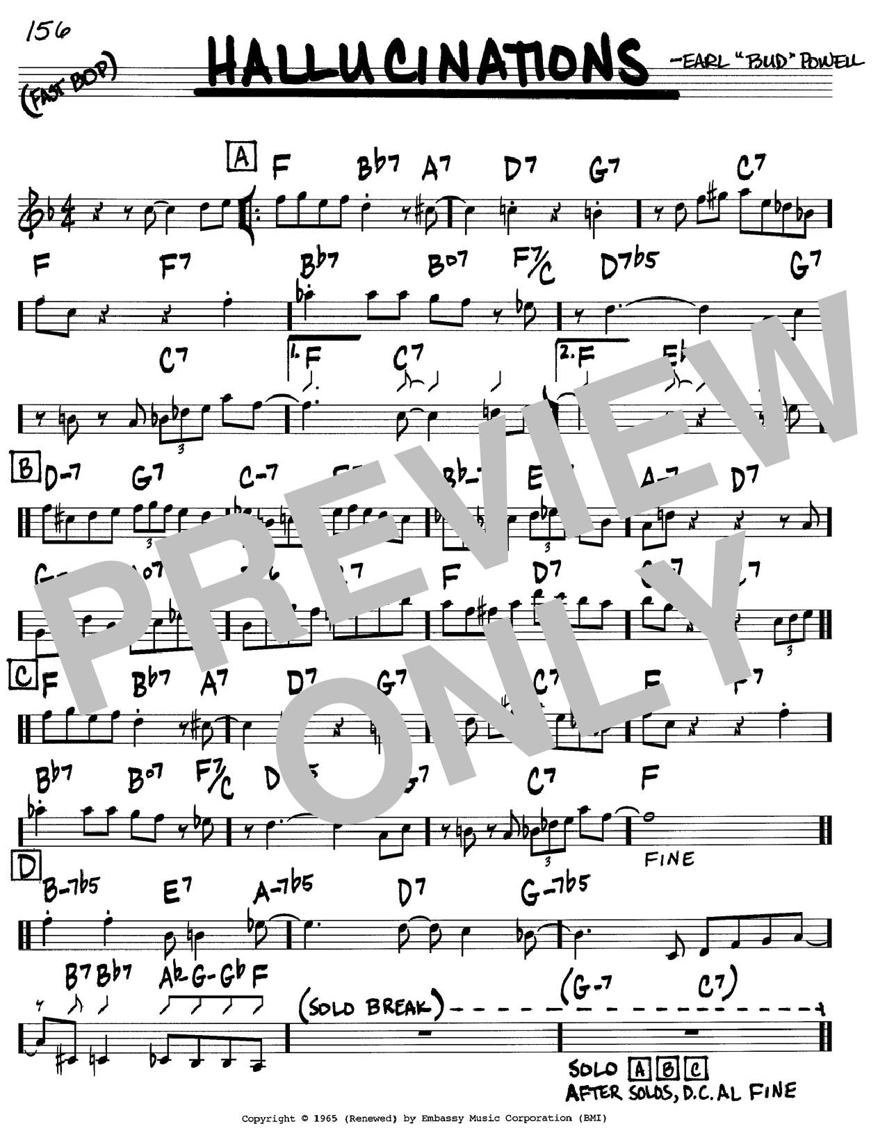 Bud Powell Hallucinations sheet music notes and chords