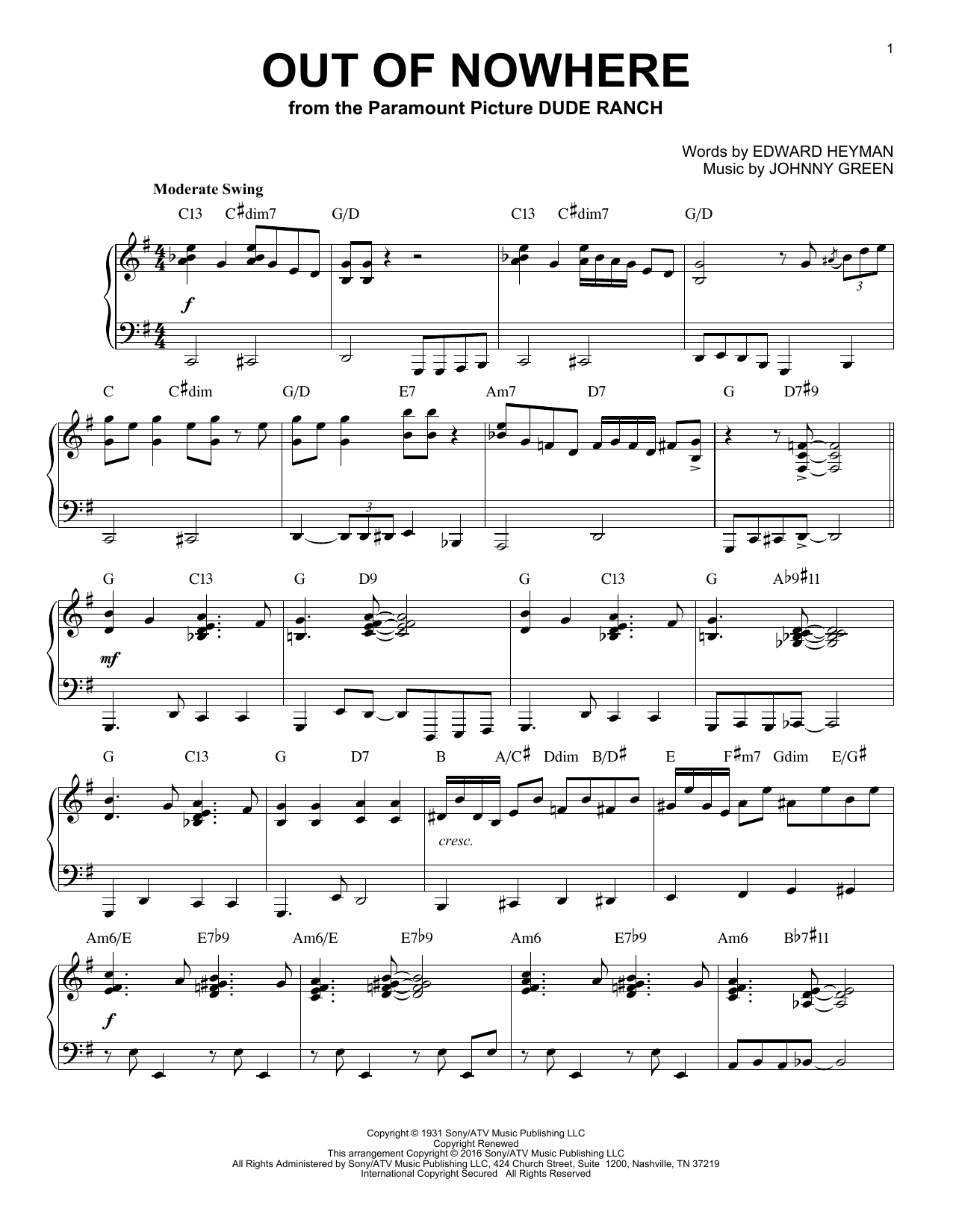 Buddy De Franco Out Of Nowhere (arr. Brent Edstrom) sheet music notes and chords. Download Printable PDF.