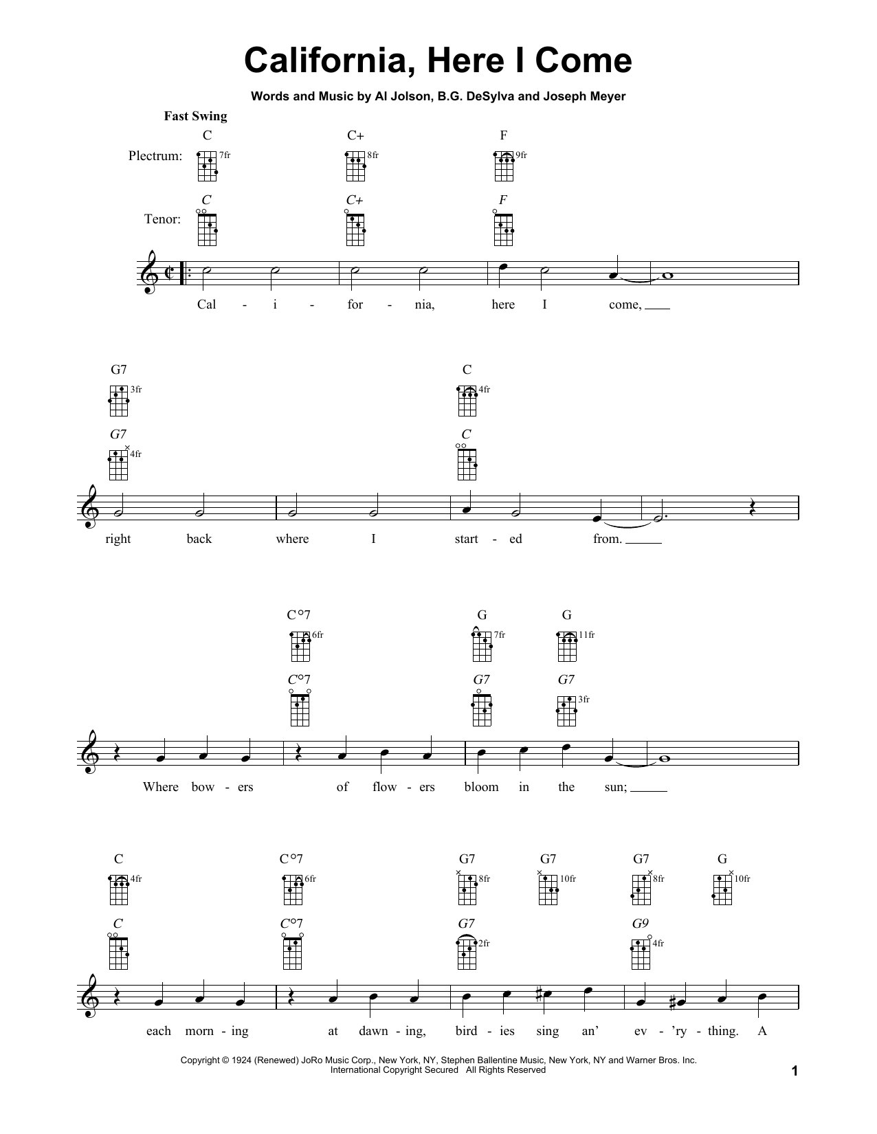 Buddy DeSylva California, Here I Come sheet music notes and chords. Download Printable PDF.