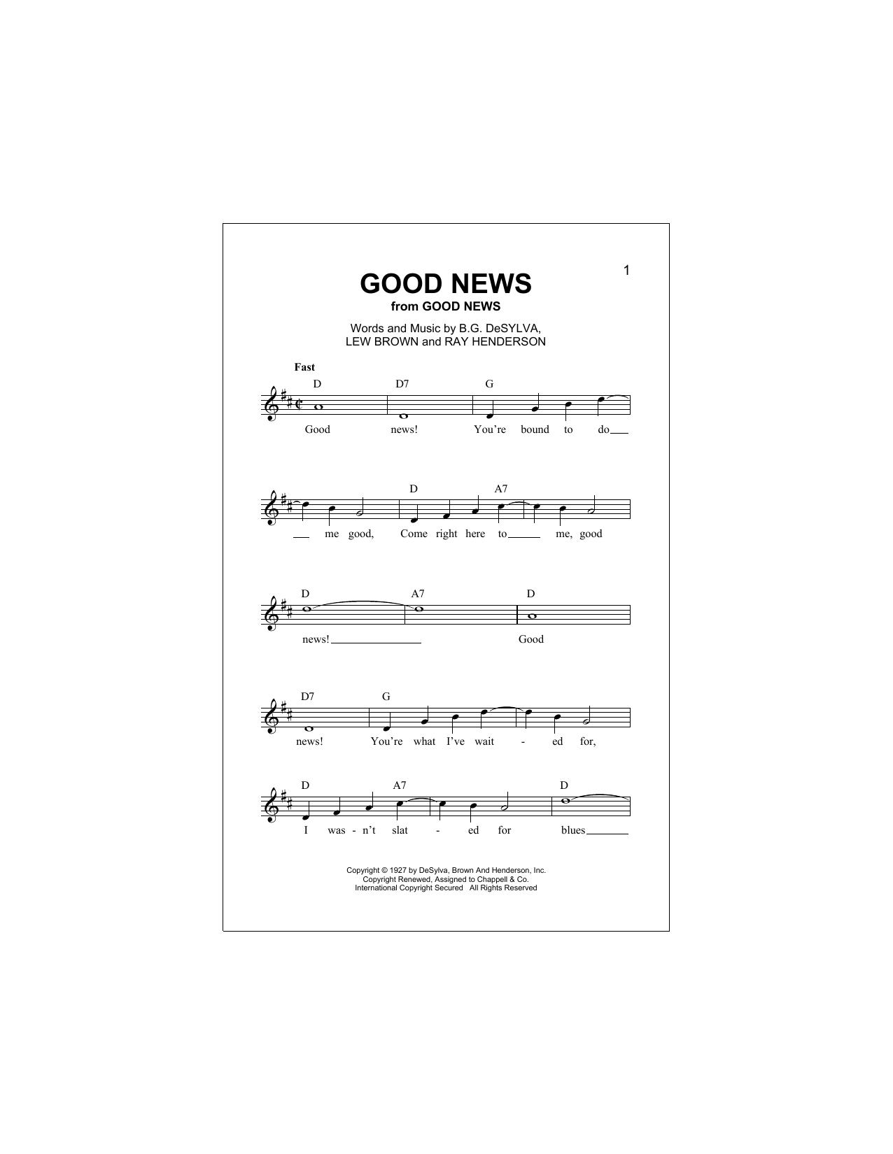 Buddy DeSylva Good News sheet music notes and chords. Download Printable PDF.