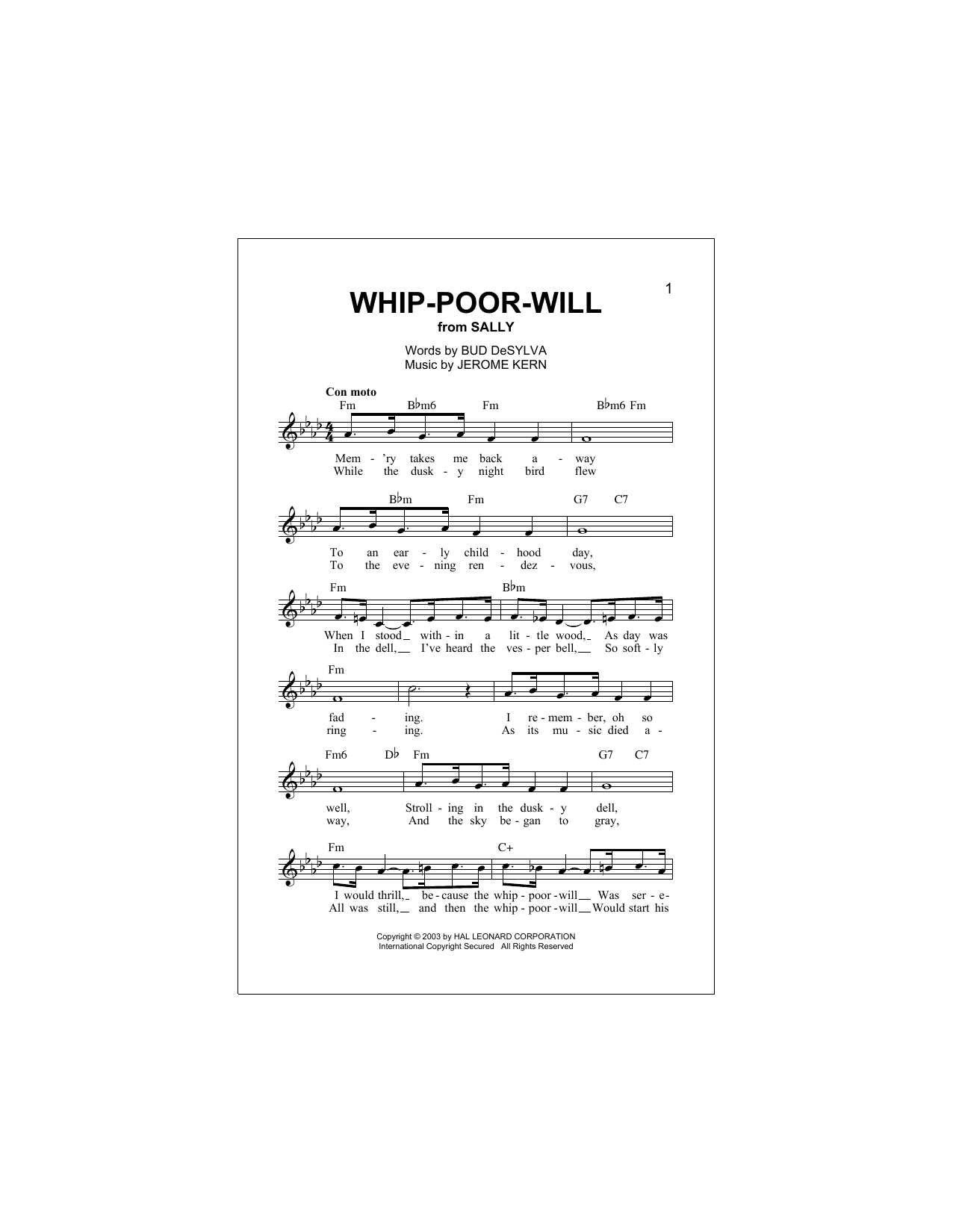 Buddy DeSylva Whip-Poor-Will sheet music notes and chords. Download Printable PDF.