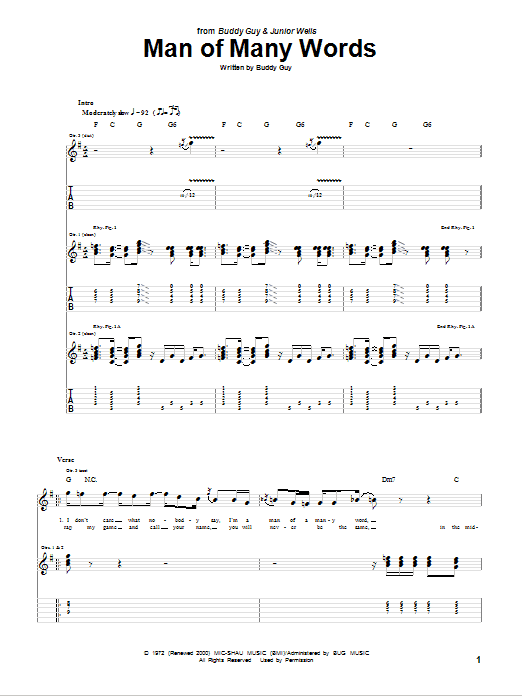 Buddy Guy Man Of Many Words sheet music notes and chords. Download Printable PDF.