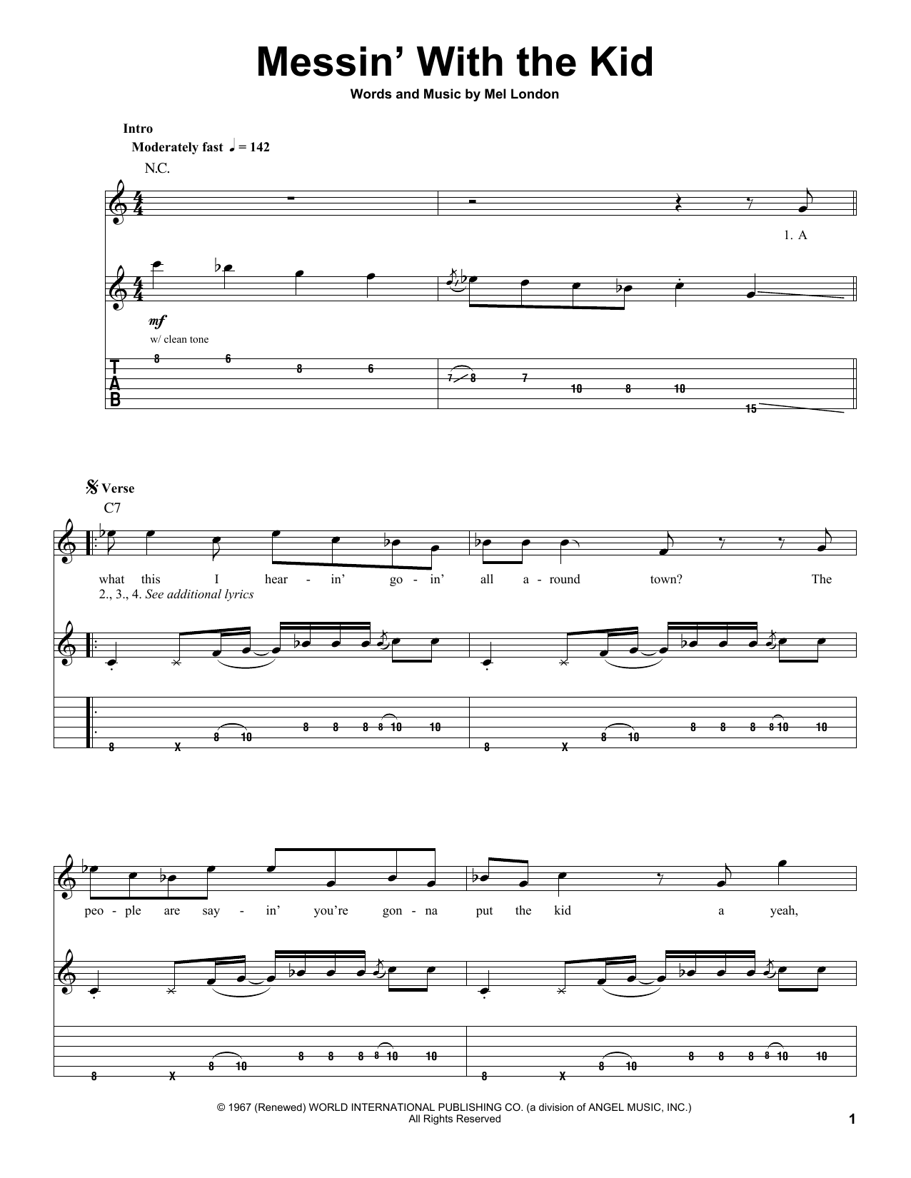 Buddy Guy & Junior Wells Messin' With The Kid sheet music notes and chords. Download Printable PDF.