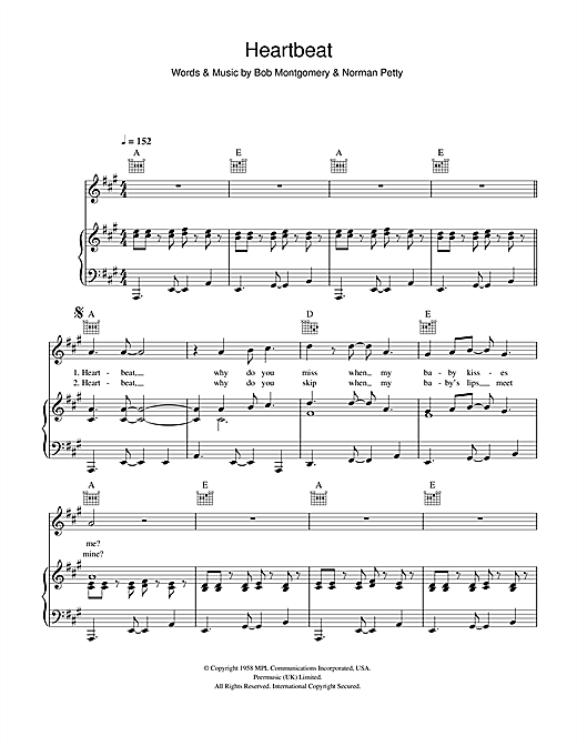 Bob Montgomery Heartbeat sheet music notes and chords. Download Printable PDF.