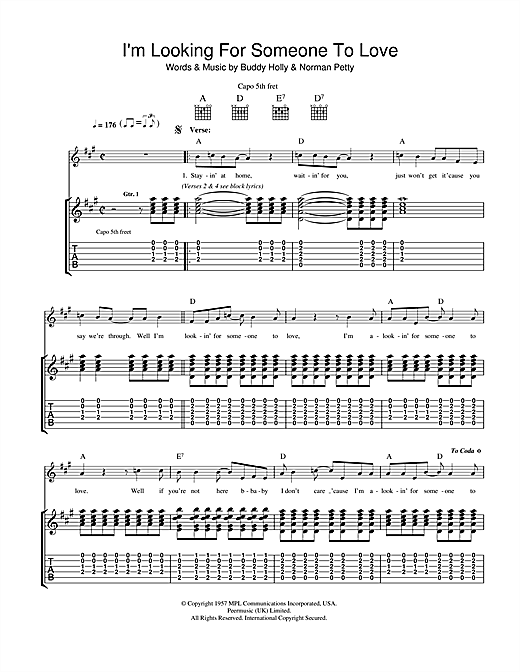 Buddy Holly I'm Looking For Someone To Love sheet music notes and chords. Download Printable PDF.